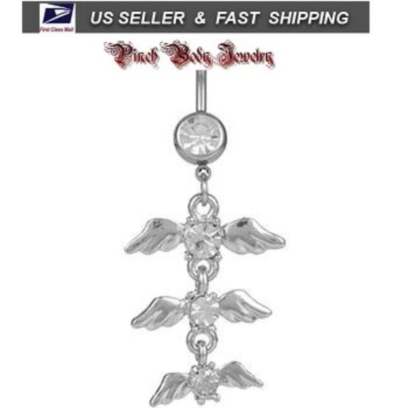 Jewelry - 3/$28 Angle Wings Crystal Navel Ring